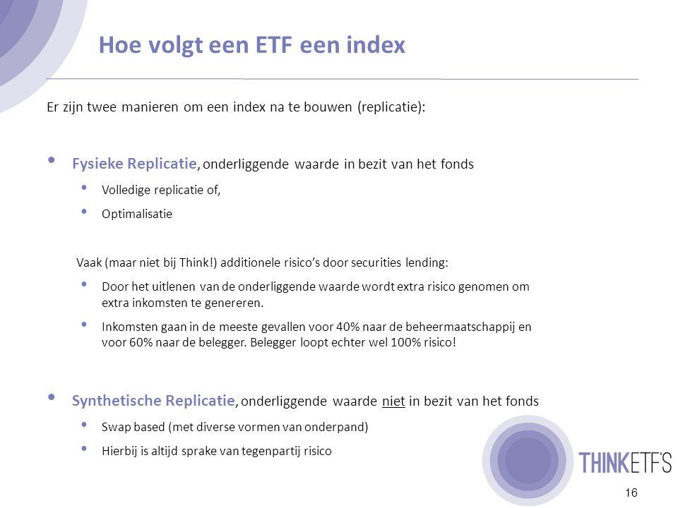 Fysieke replicatie 17 Belegger Fysieke ETF Markt- participant Cash ETF Cash Index Cash Markt Dit is de meest simpele en transparante structuur, dit is de structuur van Think ETF's