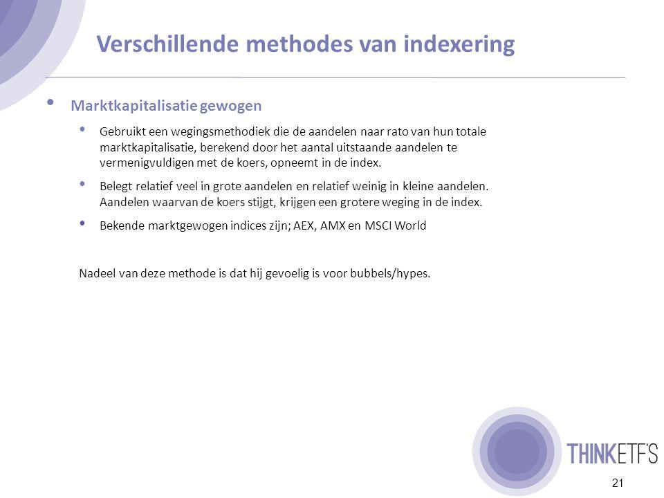 Verschillende methodes van indexering 22 Gelijk gewogen Aandelen die zijn opgelopen worden op herweegmomenten wat afgebouwd.