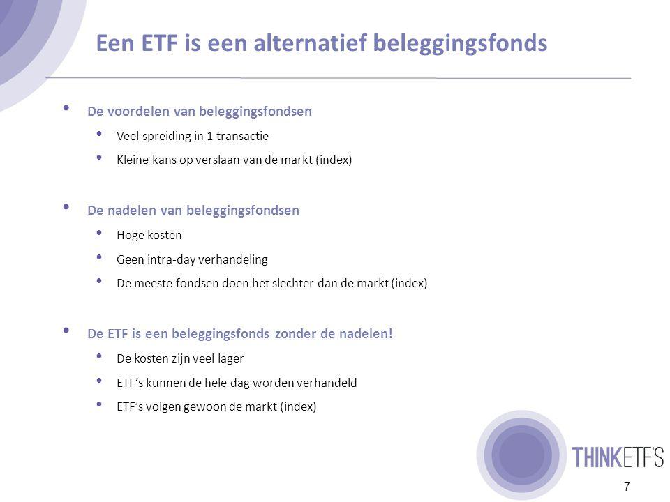 Eenvoudig en gespreid beleggen tegen lage kosten 8 Een ETF….