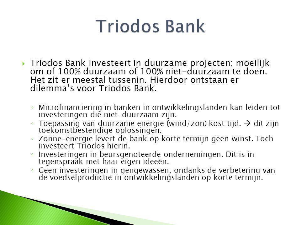  Triodos Bank investeert in duurzame projecten; moeilijk om of 100% duurzaam of 100% niet-duurzaam te doen.