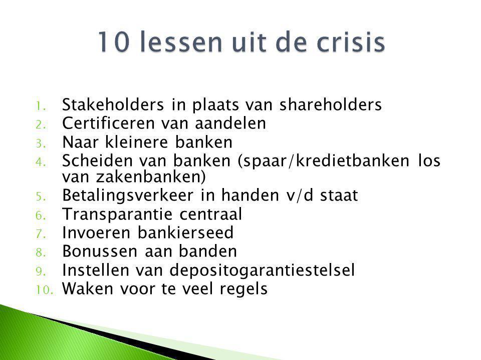 1. Stakeholders in plaats van shareholders 2. Certificeren van aandelen 3. Naar kleinere banken 4. Scheiden van banken (spaar/kredietbanken los van za