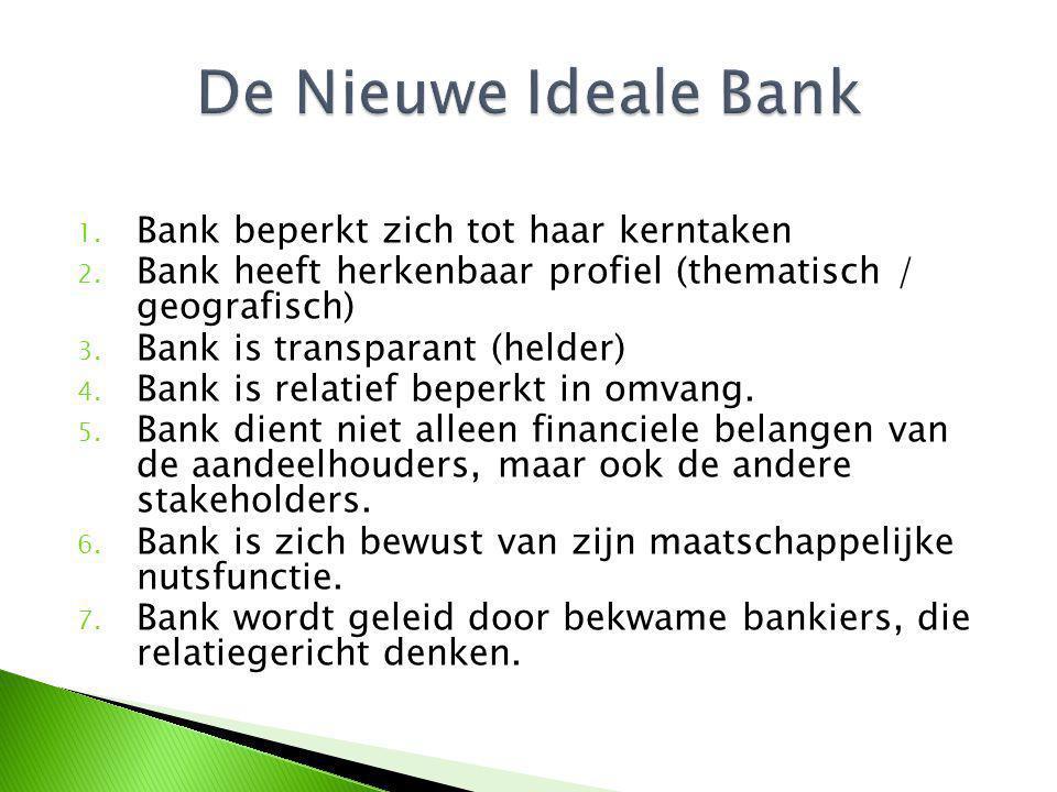 1. Bank beperkt zich tot haar kerntaken 2. Bank heeft herkenbaar profiel (thematisch / geografisch) 3. Bank is transparant (helder) 4. Bank is relatie