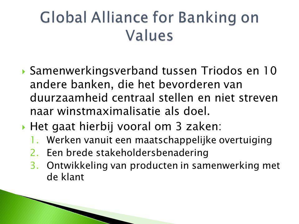  Samenwerkingsverband tussen Triodos en 10 andere banken, die het bevorderen van duurzaamheid centraal stellen en niet streven naar winstmaximalisatie als doel.