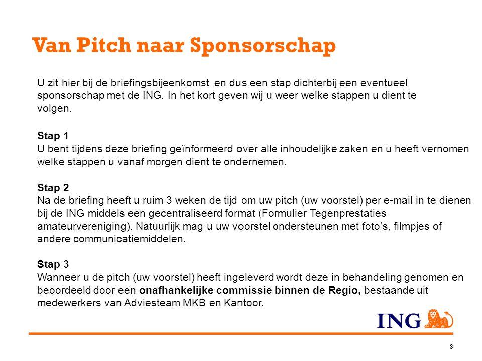8 Van Pitch naar Sponsorschap U zit hier bij de briefingsbijeenkomst en dus een stap dichterbij een eventueel sponsorschap met de ING. In het kort gev