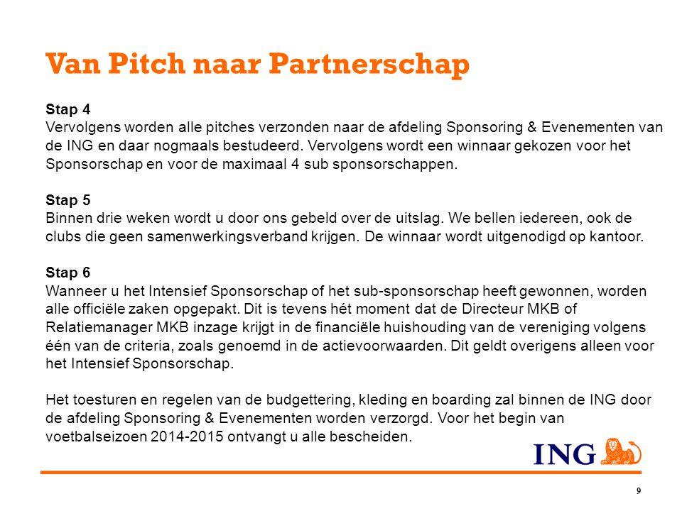 9 Van Pitch naar Partnerschap Stap 4 Vervolgens worden alle pitches verzonden naar de afdeling Sponsoring & Evenementen van de ING en daar nogmaals bestudeerd.