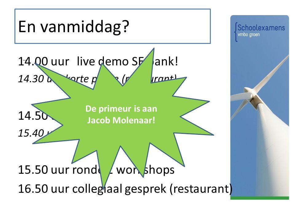 En vanmiddag?.. 14.00 uur live demo SE bank! 14.30 uur korte pauze (restaurant) 14.50 uur ronde 1 workshops 15.40 uur wisseltijd 10 minuten 15.50 uur