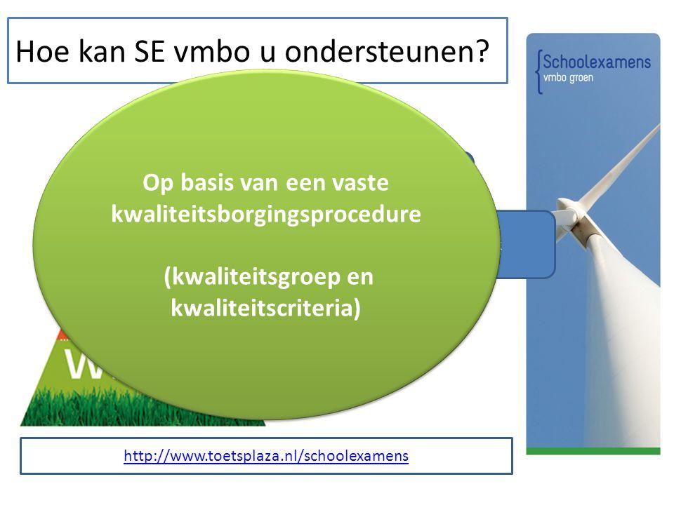 Hoe kan SE vmbo u ondersteunen? Handreiking en formats 6 schoolexamensets LBB Online SE bank Op basis van een vaste kwaliteitsborgingsprocedure (kwali
