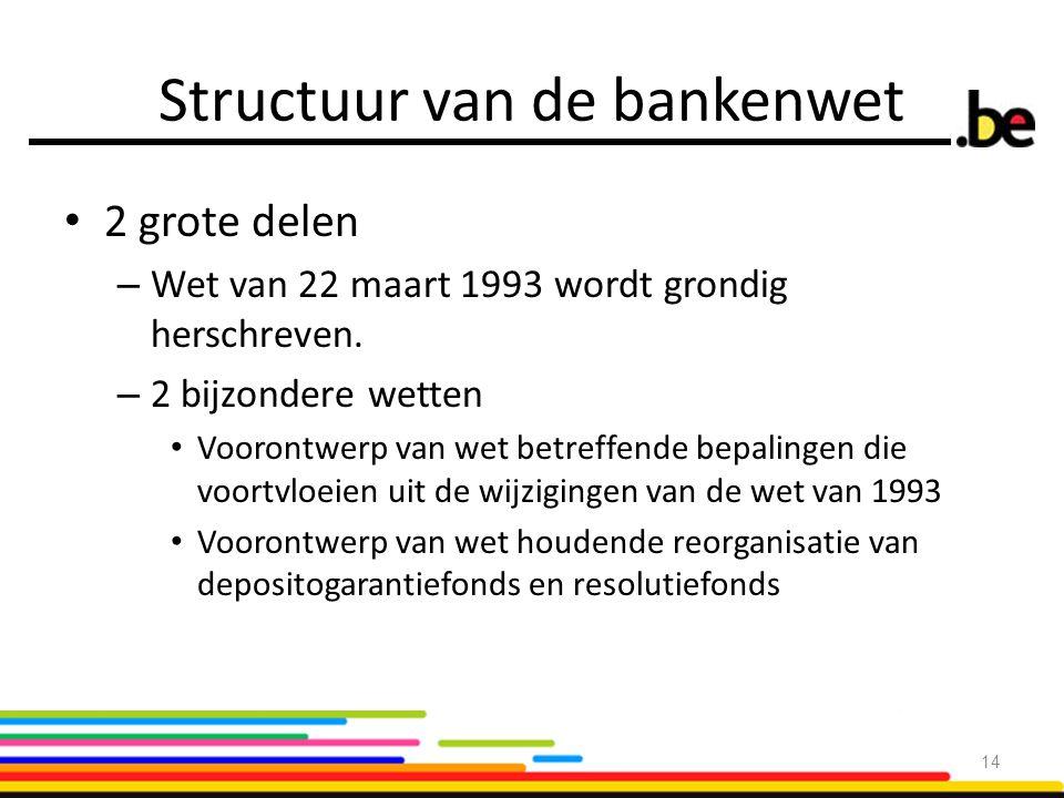 Structuur van de bankenwet 2 grote delen – Wet van 22 maart 1993 wordt grondig herschreven. – 2 bijzondere wetten Voorontwerp van wet betreffende bepa