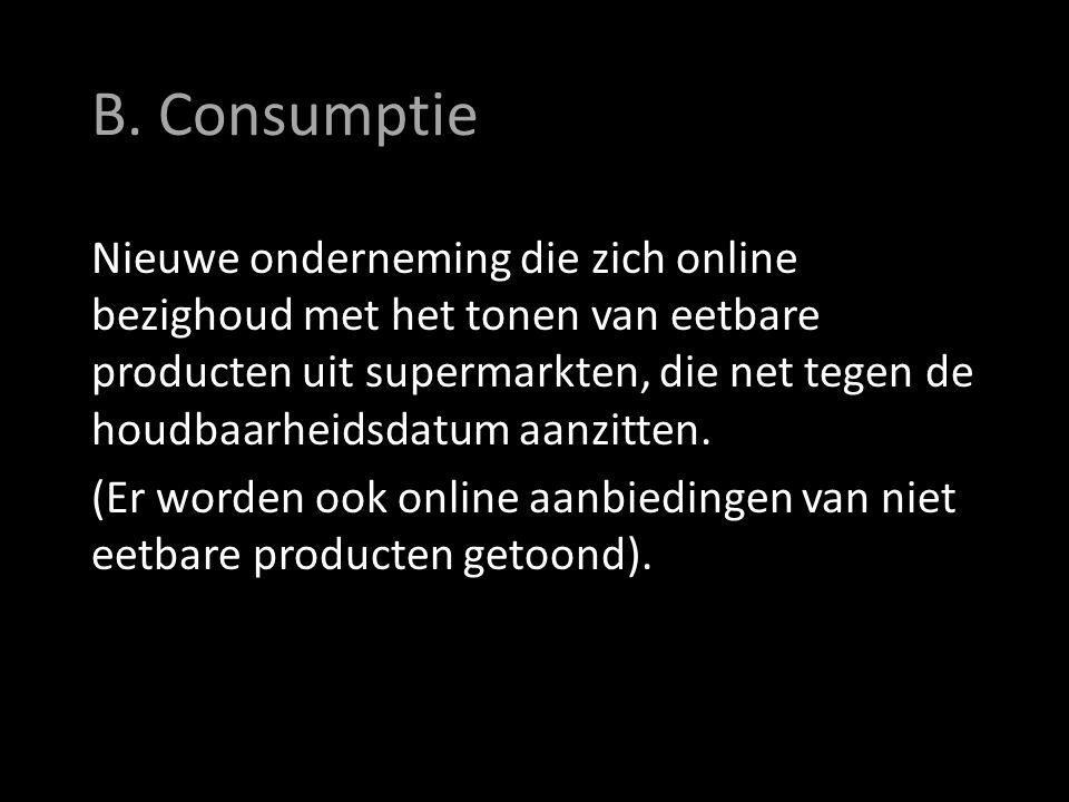 B. Consumptie Nieuwe onderneming die zich online bezighoud met het tonen van eetbare producten uit supermarkten, die net tegen de houdbaarheidsdatum a
