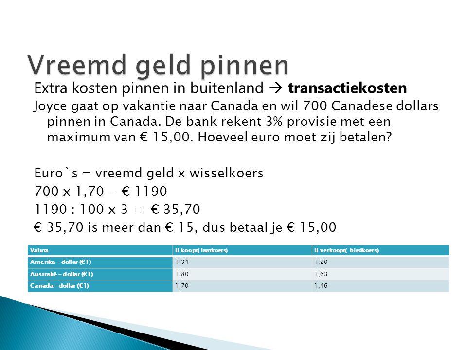 Extra kosten pinnen in buitenland  transactiekosten Joyce gaat op vakantie naar Canada en wil 700 Canadese dollars pinnen in Canada. De bank rekent 3