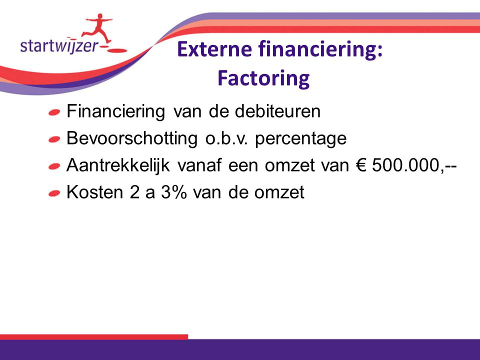 Externe financiering: Factoring Financiering van de debiteuren Bevoorschotting o.b.v.