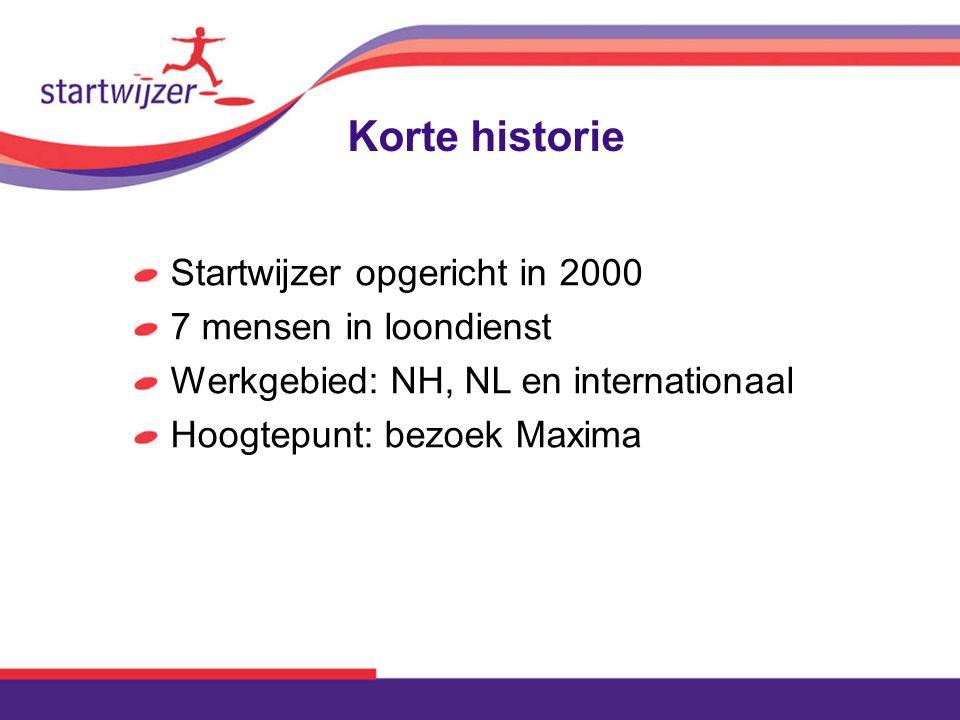 Korte historie Startwijzer opgericht in 2000 7 mensen in loondienst Werkgebied: NH, NL en internationaal Hoogtepunt: bezoek Maxima