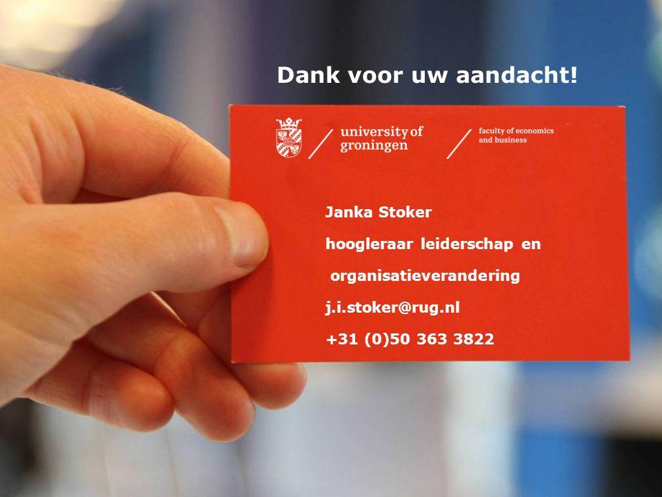 32 Thank you for your attention Janka Stoker hoogleraar leiderschap en organisatieverandering j.i.stoker@rug.nl +31 (0)50 363 3822 Dank voor uw aandac