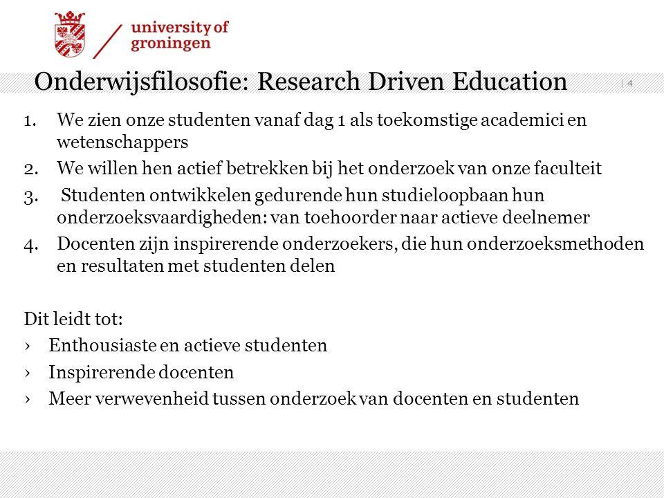 | 4 Onderwijsfilosofie: Research Driven Education 1.We zien onze studenten vanaf dag 1 als toekomstige academici en wetenschappers 2.We willen hen act