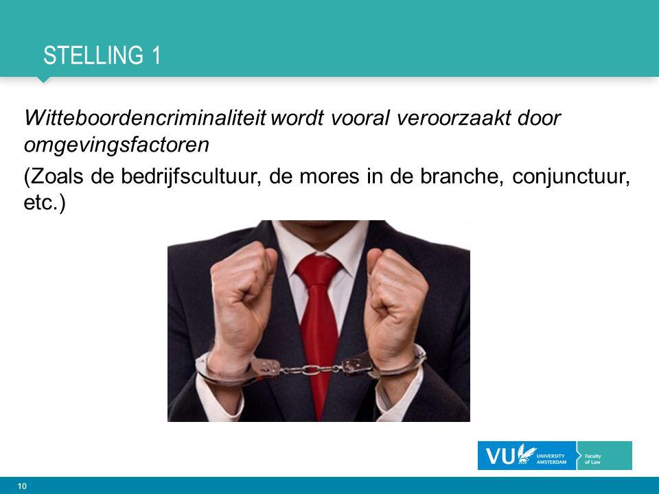 10 STELLING 1 Witteboordencriminaliteit wordt vooral veroorzaakt door omgevingsfactoren (Zoals de bedrijfscultuur, de mores in de branche, conjunctuur