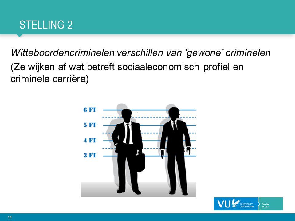 11 STELLING 2 Witteboordencriminelen verschillen van 'gewone' criminelen (Ze wijken af wat betreft sociaaleconomisch profiel en criminele carrière)