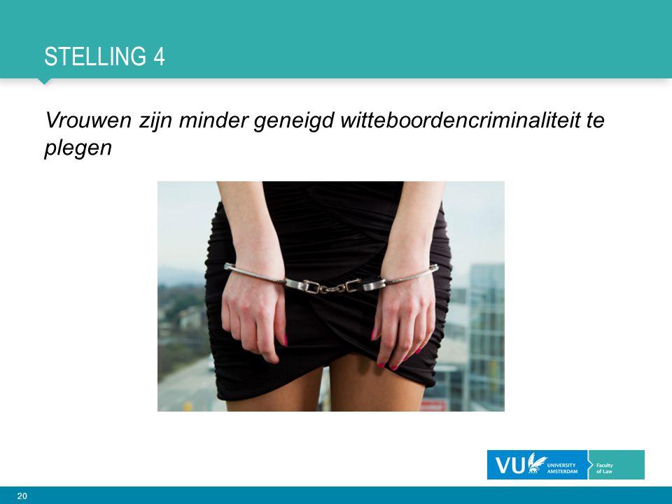 20 STELLING 4 Vrouwen zijn minder geneigd witteboordencriminaliteit te plegen