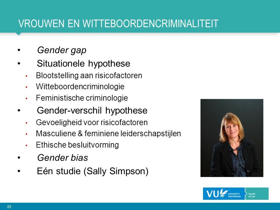 22 VROUWEN EN WITTEBOORDENCRIMINALITEIT Gender gap Situationele hypothese Blootstelling aan risicofactoren Witteboordencriminologie Feministische crim