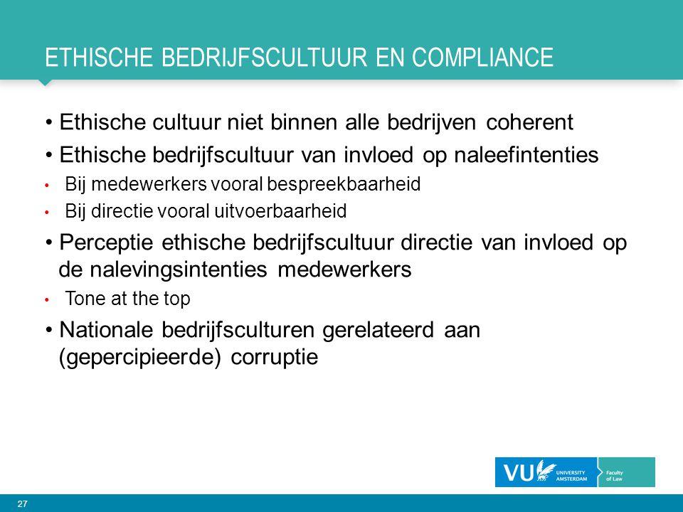 27 ETHISCHE BEDRIJFSCULTUUR EN COMPLIANCE Ethische cultuur niet binnen alle bedrijven coherent Ethische bedrijfscultuur van invloed op naleefintenties