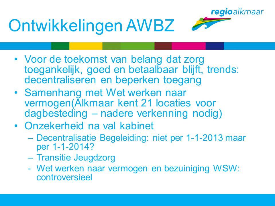 Ontwikkelingen AWBZ Voor de toekomst van belang dat zorg toegankelijk, goed en betaalbaar blijft, trends: decentraliseren en beperken toegang Samenhan