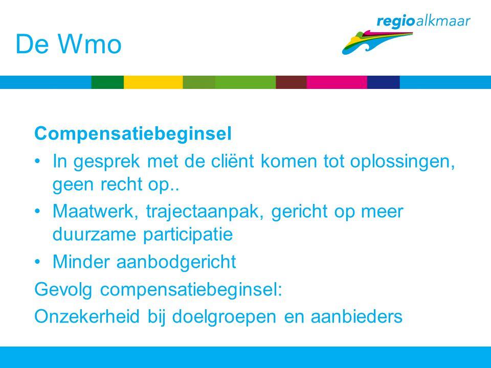 De Wmo Compensatiebeginsel In gesprek met de cliënt komen tot oplossingen, geen recht op.. Maatwerk, trajectaanpak, gericht op meer duurzame participa