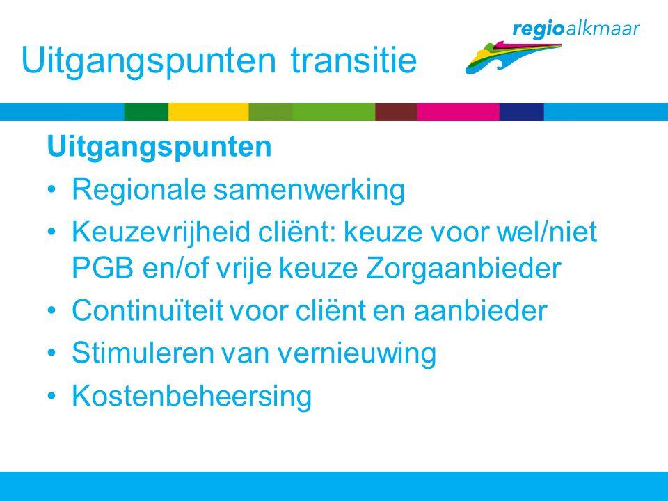 Uitgangspunten transitie Uitgangspunten Regionale samenwerking Keuzevrijheid cliënt: keuze voor wel/niet PGB en/of vrije keuze Zorgaanbieder Continuïteit voor cliënt en aanbieder Stimuleren van vernieuwing Kostenbeheersing