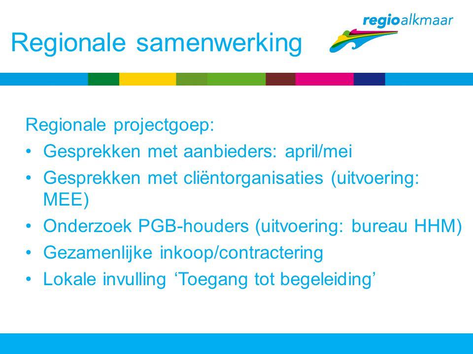 Regionale samenwerking Regionale projectgoep: Gesprekken met aanbieders: april/mei Gesprekken met cliëntorganisaties (uitvoering: MEE) Onderzoek PGB-h