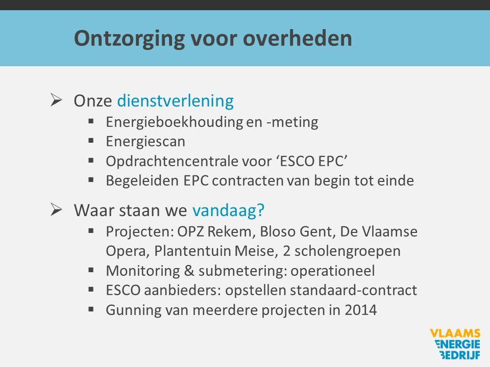 Ontzorging voor overheden  Onze dienstverlening  Energieboekhouding en -meting  Energiescan  Opdrachtencentrale voor 'ESCO EPC'  Begeleiden EPC contracten van begin tot einde  Waar staan we vandaag.