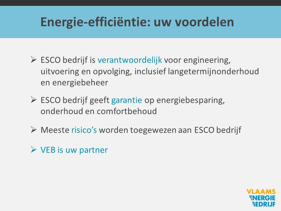 Energie-efficiëntie: uw voordelen  ESCO bedrijf is verantwoordelijk voor engineering, uitvoering en opvolging, inclusief langetermijnonderhoud en energiebeheer  ESCO bedrijf geeft garantie op energiebesparing, onderhoud en comfortbehoud  Meeste risico's worden toegewezen aan ESCO bedrijf  VEB is uw partner