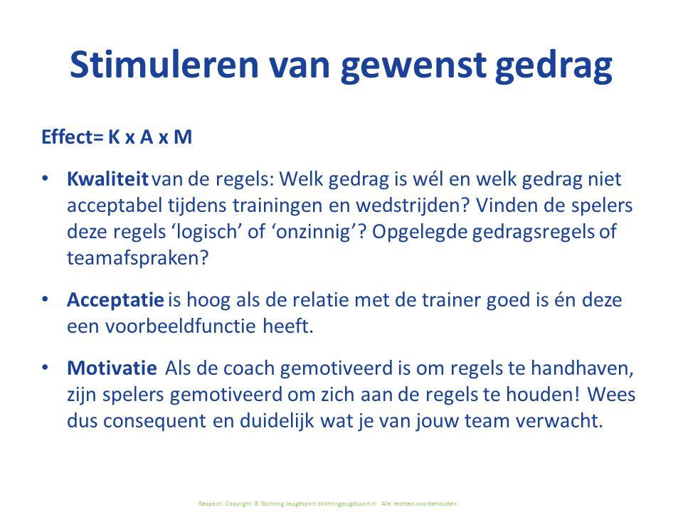 Respect! Copyright © Stichting Jeugdsport stichtingjeugdsport.nl Alle rechten voorbehouden. Stimuleren van gewenst gedrag Effect= K x A x M Kwaliteit