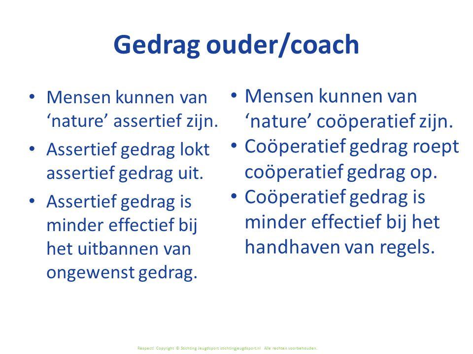 Respect! Copyright © Stichting Jeugdsport stichtingjeugdsport.nl Alle rechten voorbehouden. Gedrag ouder/coach Mensen kunnen van 'nature' assertief zi