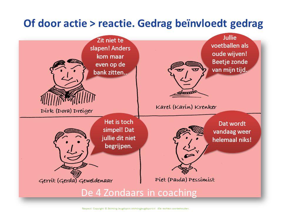 Respect! Copyright © Stichting Jeugdsport stichtingjeugdsport.nl Alle rechten voorbehouden. Of door actie > reactie. Gedrag beïnvloedt gedrag Dat word