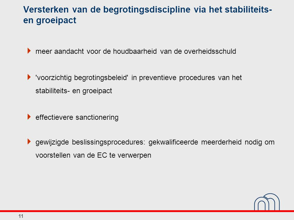 Versterken van de begrotingsdiscipline via het stabiliteits- en groeipact  meer aandacht voor de houdbaarheid van de overheidsschuld  voorzichtig begrotingsbeleid in preventieve procedures van het stabiliteits- en groeipact  effectievere sanctionering  gewijzigde beslissingsprocedures: gekwalificeerde meerderheid nodig om voorstellen van de EC te verwerpen 11
