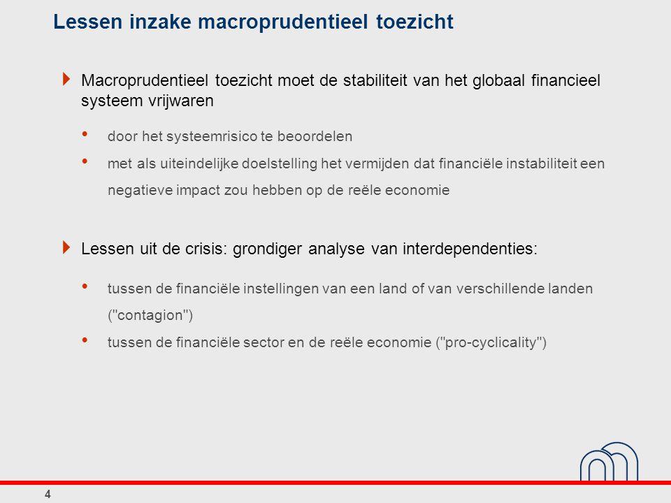 Lessen inzake macroprudentieel toezicht  Macroprudentieel toezicht moet de stabiliteit van het globaal financieel systeem vrijwaren door het systeemr