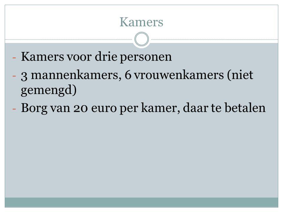 Kamers - Kamers voor drie personen - 3 mannenkamers, 6 vrouwenkamers (niet gemengd) - Borg van 20 euro per kamer, daar te betalen