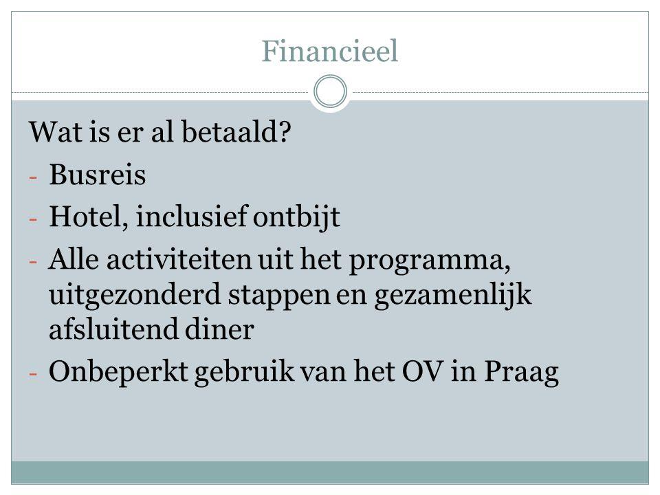 Financieel Wat is er al betaald.