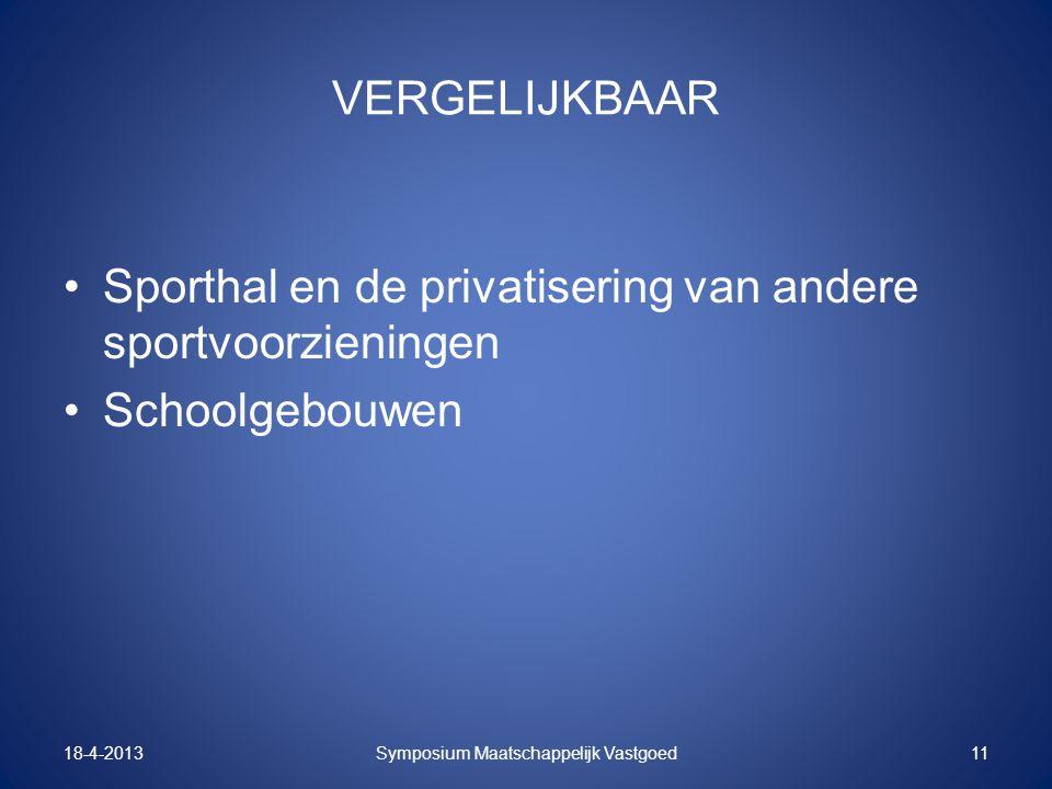 VERGELIJKBAAR Sporthal en de privatisering van andere sportvoorzieningen Schoolgebouwen 18-4-2013Symposium Maatschappelijk Vastgoed11
