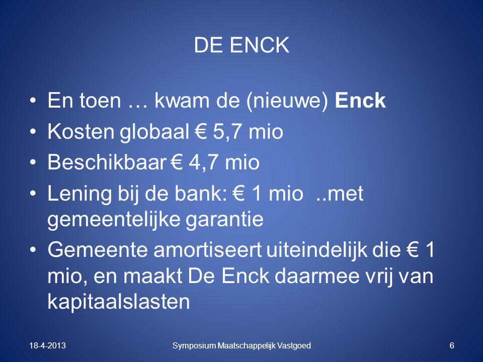 DE ENCK En toen … kwam de (nieuwe) Enck Kosten globaal € 5,7 mio Beschikbaar € 4,7 mio Lening bij de bank: € 1 mio..met gemeentelijke garantie Gemeent