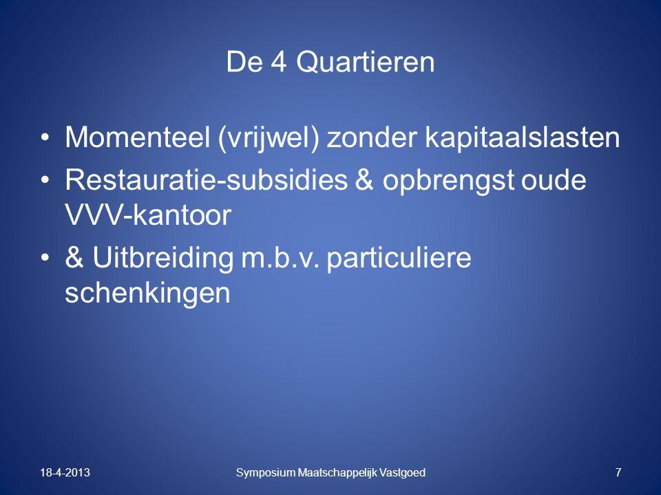 De 4 Quartieren Momenteel (vrijwel) zonder kapitaalslasten Restauratie-subsidies & opbrengst oude VVV-kantoor & Uitbreiding m.b.v. particuliere schenk