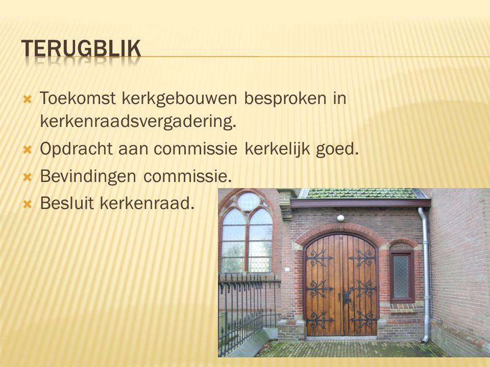  Toekomst kerkgebouwen besproken in kerkenraadsvergadering.  Opdracht aan commissie kerkelijk goed.  Bevindingen commissie.  Besluit kerkenraad.