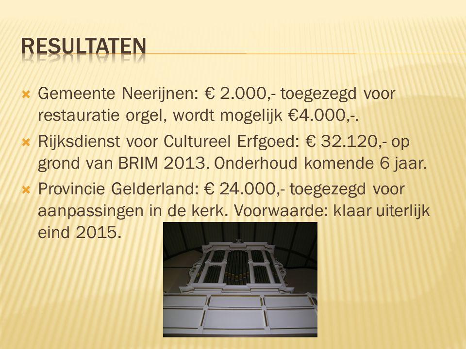  Gemeente Neerijnen: € 2.000,- toegezegd voor restauratie orgel, wordt mogelijk €4.000,-.  Rijksdienst voor Cultureel Erfgoed: € 32.120,- op grond v