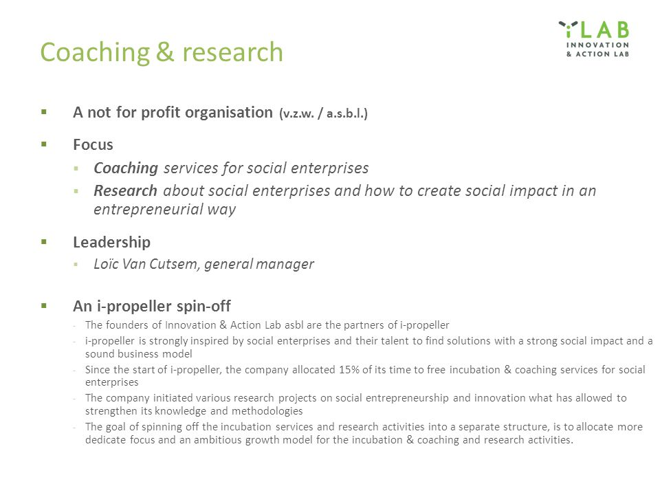 Coaching & research  A not for profit organisation (v.z.w.