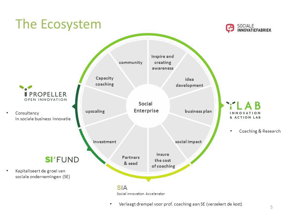 5 Social Enterprise The Ecosystem Kapitaliseert de groei van sociale ondernemingen (SE) Consultancy in sociale business innovatie Verlaagt drempel voo