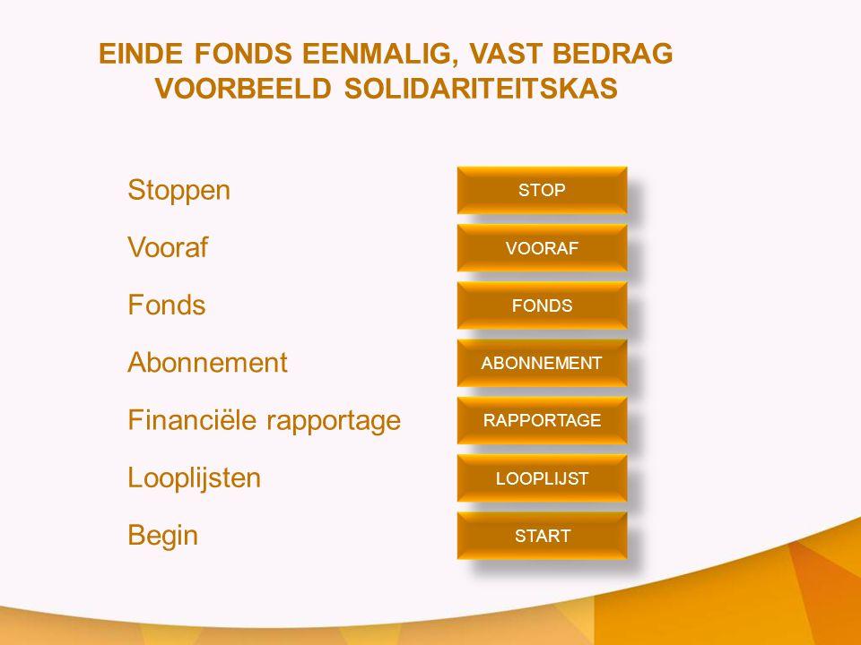 EINDE FONDS EENMALIG, VAST BEDRAG VOORBEELD SOLIDARITEITSKAS Stoppen Vooraf Fonds Abonnement Financiële rapportage Looplijsten Begin STOP VOORAF ABONNEMENT START FONDS RAPPORTAGE LOOPLIJST