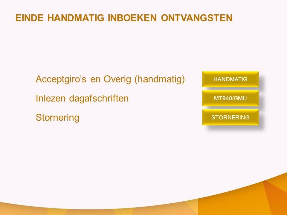 EINDE HANDMATIG INBOEKEN ONTVANGSTEN Acceptgiro's en Overig (handmatig) Inlezen dagafschriften Stornering HANDMATIG MT940/GMU STORNERING