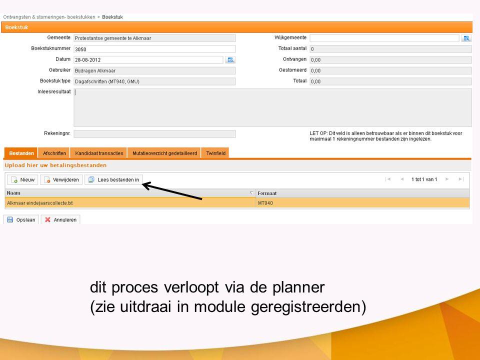dit proces verloopt via de planner (zie uitdraai in module geregistreerden)