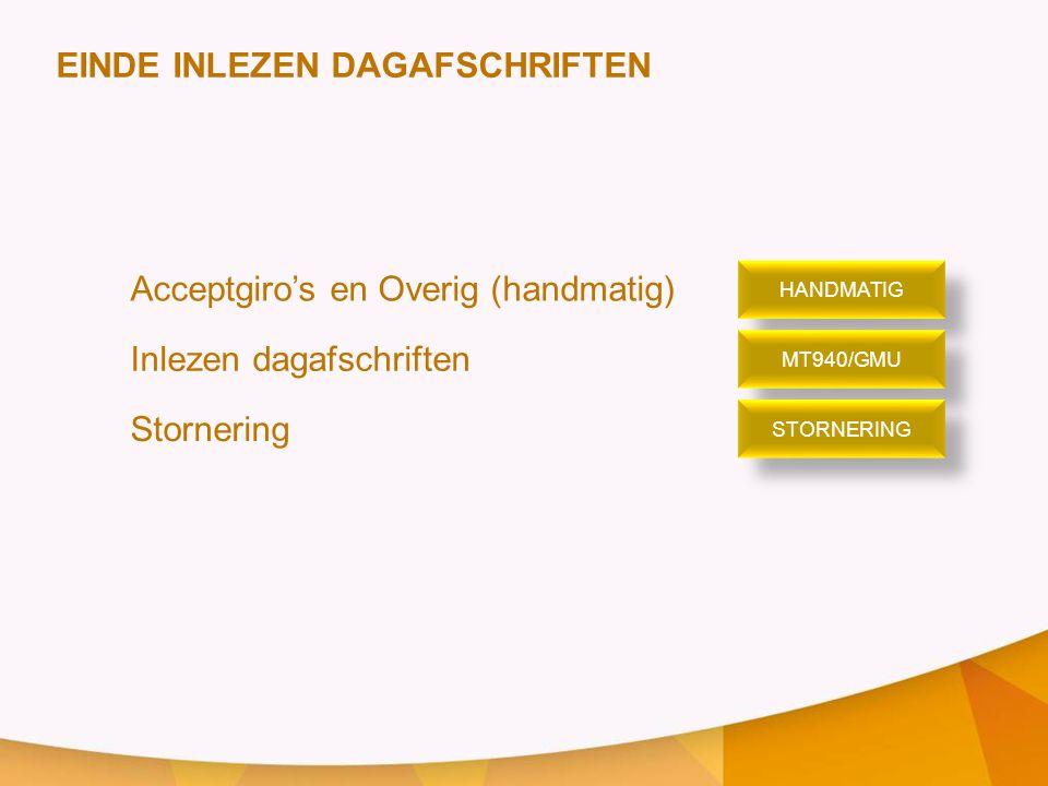 EINDE INLEZEN DAGAFSCHRIFTEN Acceptgiro's en Overig (handmatig) Inlezen dagafschriften Stornering HANDMATIG MT940/GMU STORNERING