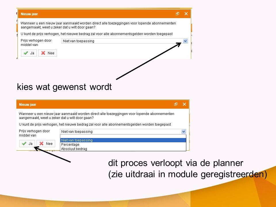 kies wat gewenst wordt dit proces verloopt via de planner (zie uitdraai in module geregistreerden)