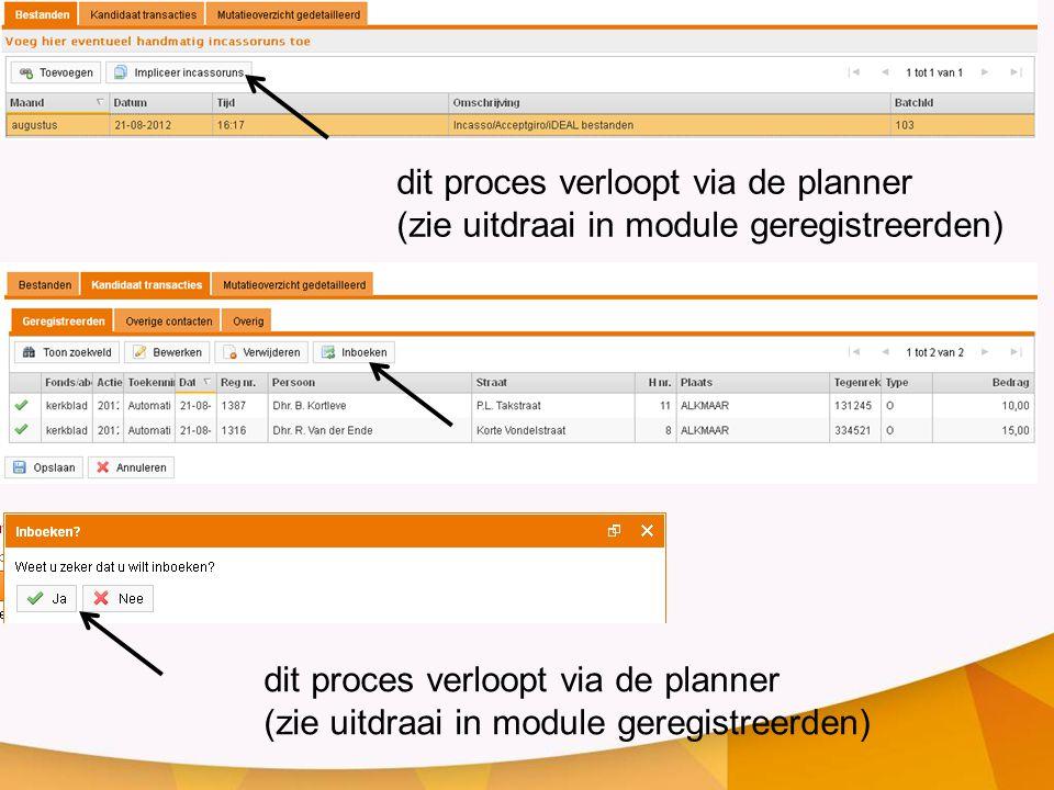 dit proces verloopt via de planner (zie uitdraai in module geregistreerden) dit proces verloopt via de planner (zie uitdraai in module geregistreerden)