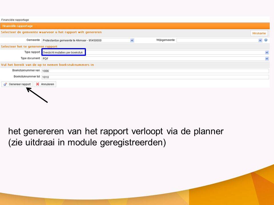het genereren van het rapport verloopt via de planner (zie uitdraai in module geregistreerden)